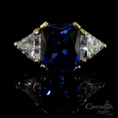 Impressive 9ct Gold, Blue & White Cubic Zirconia Trilogy Ring