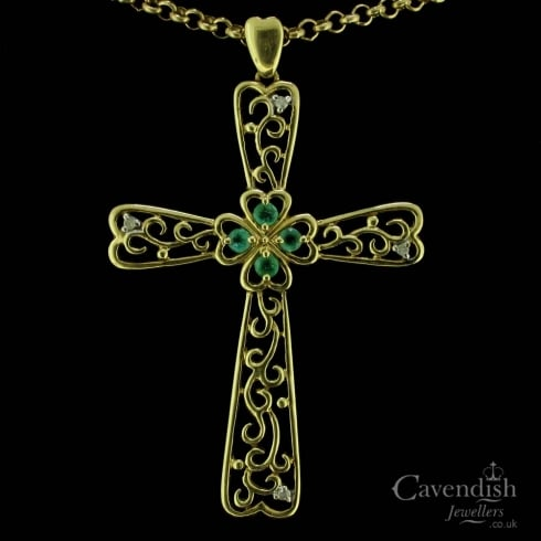 Impressive 9ct Gold Emerald & Diamond Celtic Cross