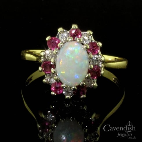 Impressive 9ct Gold Opal, Ruby & Diamond Cluster Ring