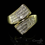 Impressive 9ct Gold Pave Diamond Crossover Ring