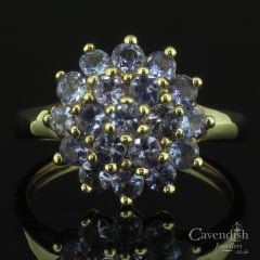 Impressive 9ct Gold Tanzanite Cluster Ring