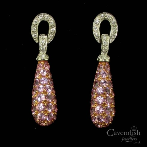 Impressive 9ct White Gold, Pink Sapphire & Diamond Drop Earrings