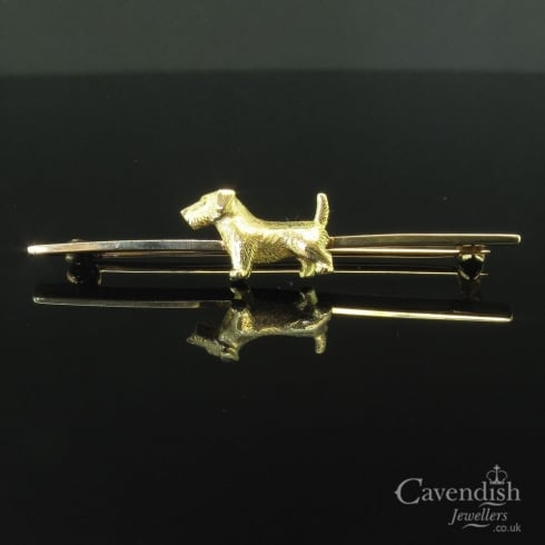 Impressive Gold Dog Bar Brooch
