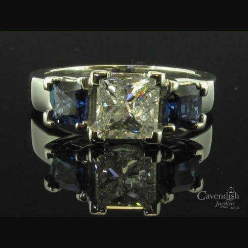 Impressive Platinum Sapphire And Diamond 3 Stone Ring