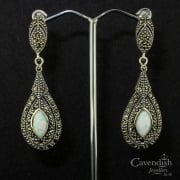 Impressive Silver, Cultured Opal And Marcasite Drop Earrings