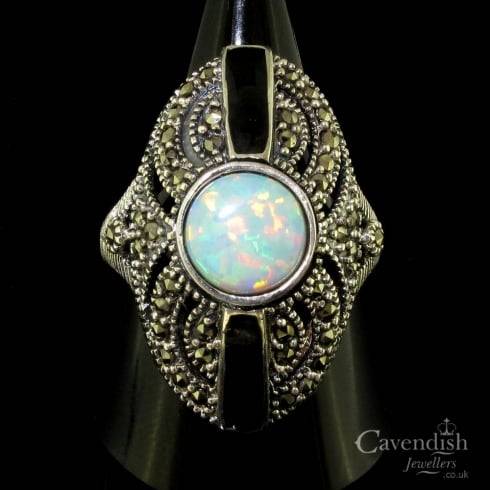 Impressive Silver Opal, Onyx and Marcasite Dress Ring
