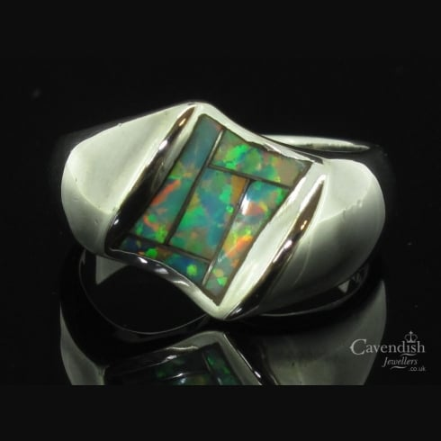 Impressive Silver & Synthetic Opal Dress Ring