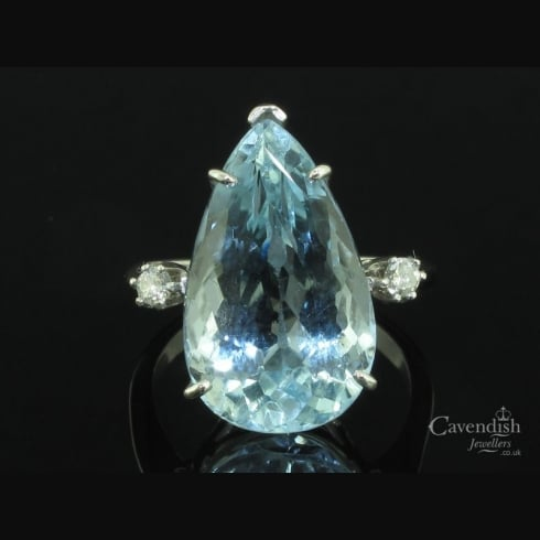 Impressive White Gold, Pear Cut Aquamarine And Diamond Ring