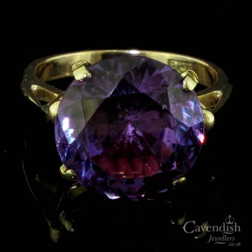 Impressive Yellow Gold And Synthetic Alexandrite Solitaire Ring