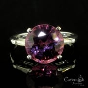 Incredible Platinum Pink Tourmaline & Diamond Solitaire Ring