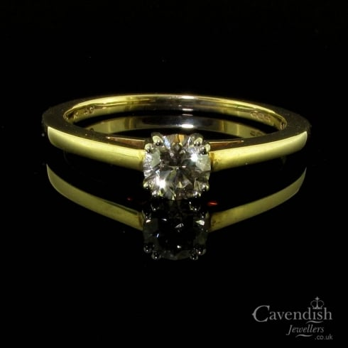 Individual 9ct Gold Champagne Diamond Solitaire Ring