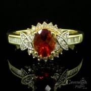 Individual Gold, Hessonite Garnet & Diamond Cluster Ring