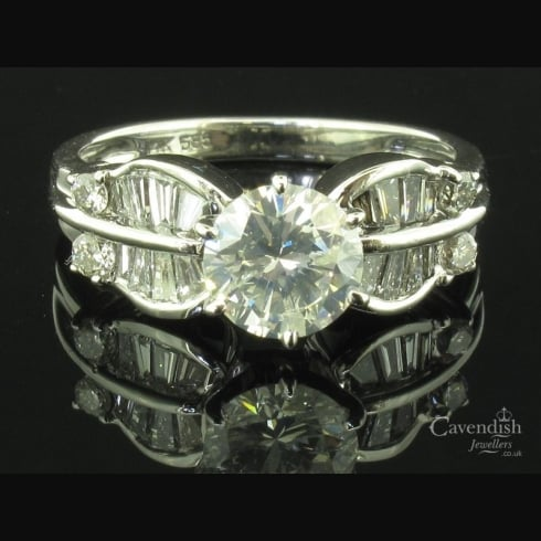 Individual White Gold & Diamond Fancy Shouldered Solitaire Ring