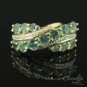 Inspiring 9ct Gold Apatite & Diamond Wave Ring