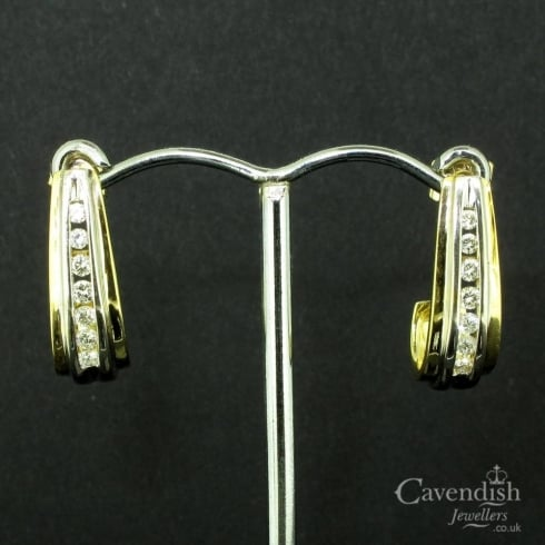 Inspiring Yellow and White Gold Diamond Drop Earrings