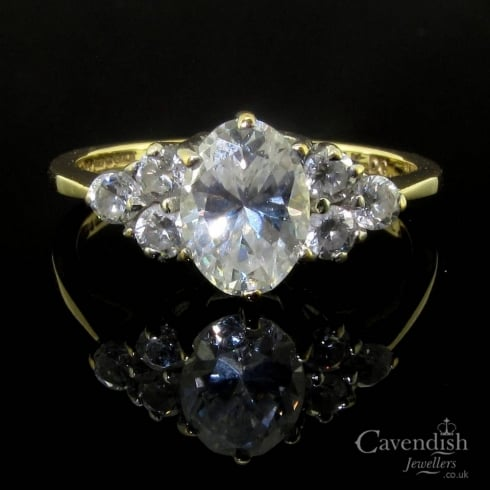 Interesting 14ct Gold Cubic Zirconia Cluster Ring