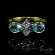 Interesting 18ct Gold Aquamarine and Diamond Dress Ring