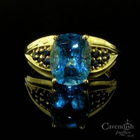 Interesting 9ct Gold Blue Topaz & Sapphire Ring