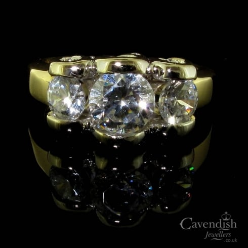 Interesting 9ct Gold Cubic Zirconia Three Stone Ring