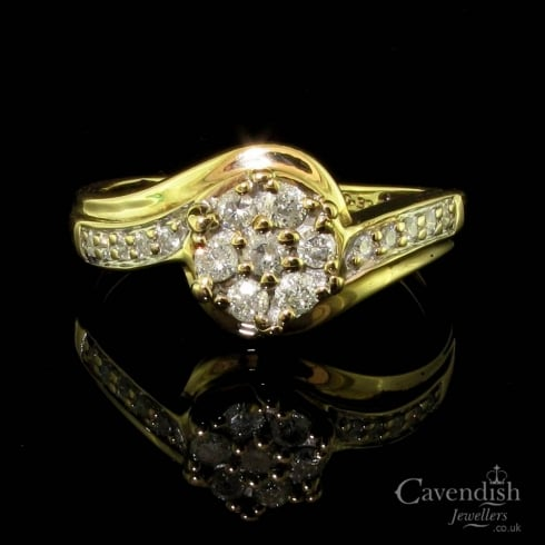 Interesting 9ct Gold Diamond Cluster Twist Ring