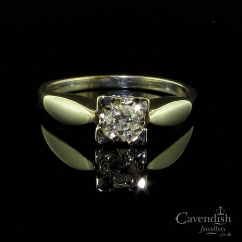 Interesting 9ct White Gold Diamond Solitaire Ring