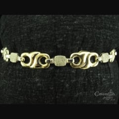 Interesting 9ct Yellow & White Gold Fancy Link Bracelet
