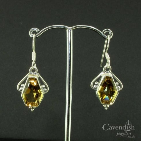 Interesting Silver and Citrine Drop Earrings