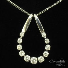 Interesting White Gold & Diamond Flexible Row Pendant Necklace