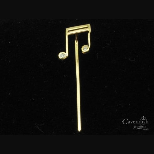 Interesting Yellow Gold & Diamond Musical Note Stick Pin