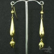 Interesting Yellow Gold Faceted Drop Earrings