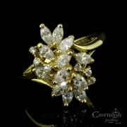 Intricate 14ct Gold Cubic Zirconia Cluster Ring