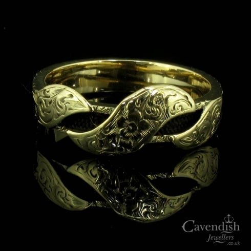 Intricate Yellow Gold & Plaited Hair, Engraved Mourning Ring