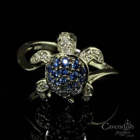 Intriguing White Gold, Sapphire & Diamond Turtle Design Ring