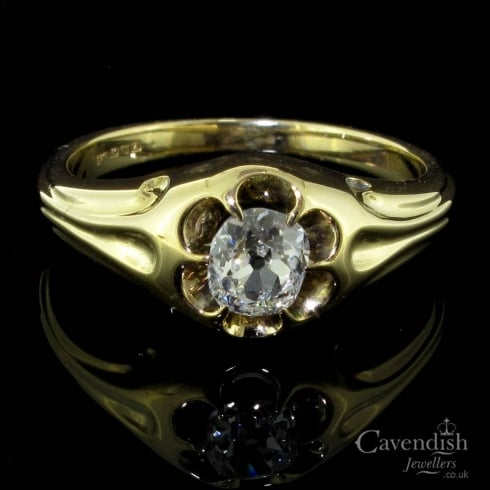 Irresistible Old Cushion Cut Diamond Victorian Ring