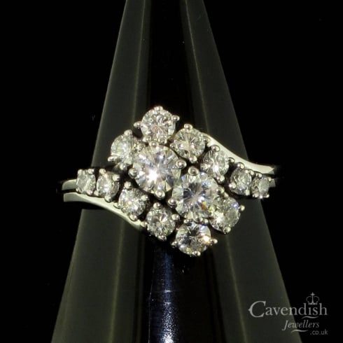 Irresistible White Gold and Diamond Cluster Ring