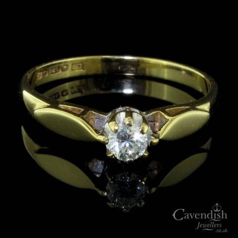 Lovely 9ct Gold And Old Cut Diamond Solitaire Ring