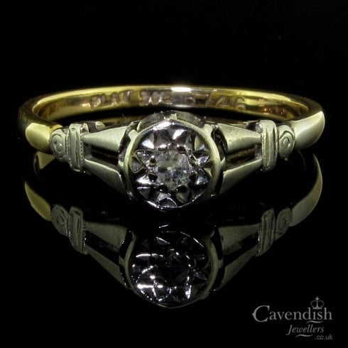 Lovely Art Deco Gold and Platinum Solitaire Diamond Ring