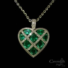 Lovely White Gold, Emerald And Diamond Heart Pendant Necklace
