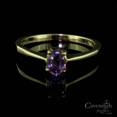 Luxurious 9ct Gold And Pink Sapphire Solitaire Ring