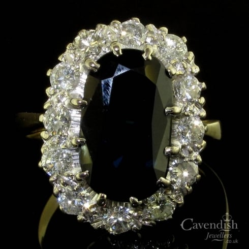 Luxurious Vintage Sapphire And Diamond Cluster Ring