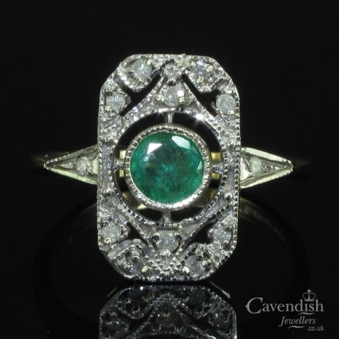 Magnificent 9ct Gold, Emerald And Diamond Tablet Ring