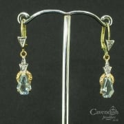 Magnificent Mixed Gold Aquamarine and Diamond Drop Earrings