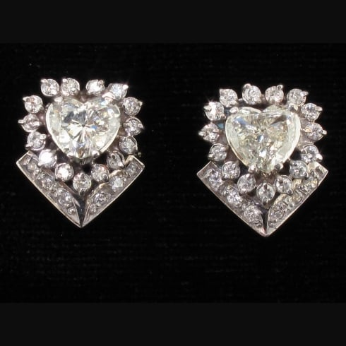 Magnificent Vintage White Gold Diamond Heart Stud Earrings