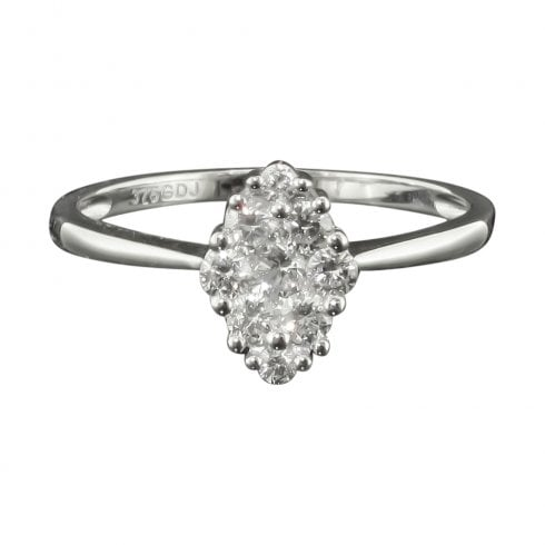 Marquise Shaped Diamond Cluster Ring