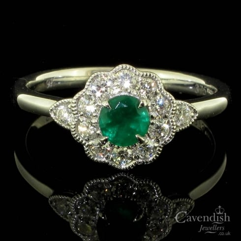 Marvelous 9ct White Gold, Emerald And Diamond Cluster Ring