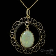 Marvelous Gold And Natural Opal Open Design Pendant Necklace