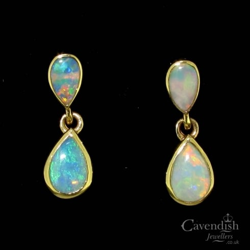 Mesmerising 9ct Gold Natural Opal Drop Earrings