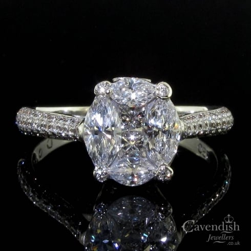 Mixed Cut Diamond Cluster Ring