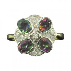 Mystic Topaz And Diamond Deco Style Cluster Ring