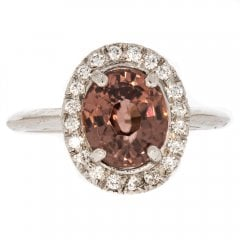 Natural Brown Zircon And Diamond Cluster Ring